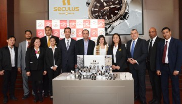 Dubai Duty Free team with Mrs Lyana Fruelda, Watches Purchasing Manager and Mr. Faisal Aziz, Watches Purchasing Manager - Alsa Lifestyle team with Mr. Ehab Nimer Bakri, Chief Operating Officer and Mr. Nehad Al Kalha, Director Retail - Seculus International with Mr. Hernan Carreno, Sales Manager.