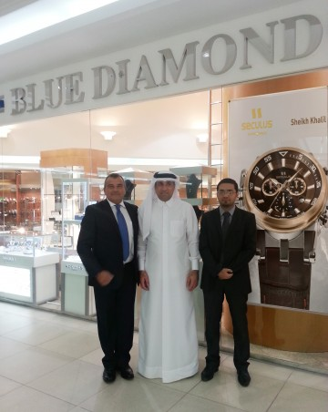 Blue Diamond Luxury Boutique in Doha City Center - Mr. Ahmed Hassan Al-Emadi, Chairman and Mr. Yousuf Mohamed, Sales Manager of Blue Diamond Group with Mr. Carreno Hernan, Sales Manager of Seculus International Brand.